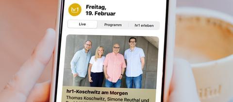Die neue hr1-App auf einem Smartphone