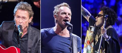 Collage von Peter Maffay, Sting und Lenny Kravitz