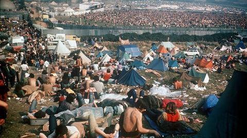 Camping- und Konzertgelände beim Isle of Wight Festival 1970