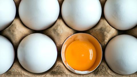Ein Eierkarton mit acht Eiern, eins davon aufgeschlagen