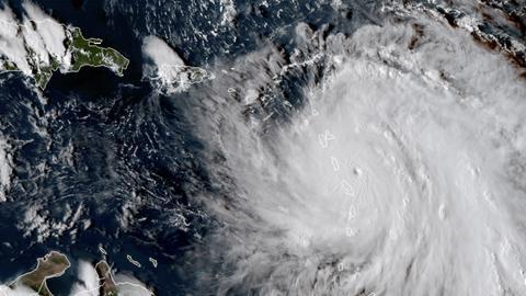 """Satellitenbild zeigt Position von Hurrikan """"Maria"""" am 18.9.2017"""