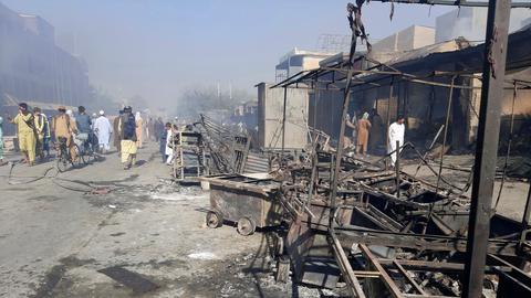 Zerstörungen nach Taliban-Angriff in Afghanistan