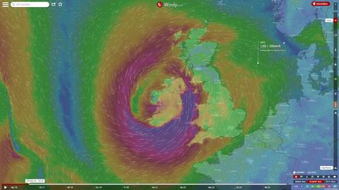Screenshot: Wind über Irland auf windy.com