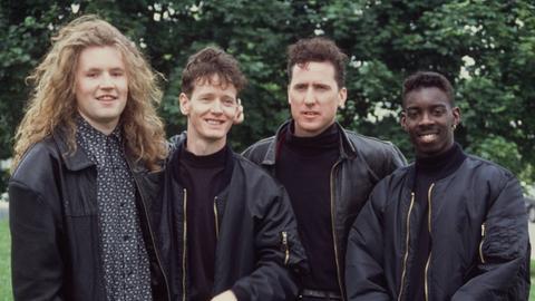 Die Band OMD 1991 bei einem Foto-Termin