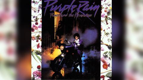 "Das Plattencover vom Prince-Album ""Purple Rain"""