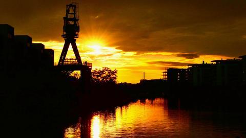 Sonnenuntergang Hafen Offenbach