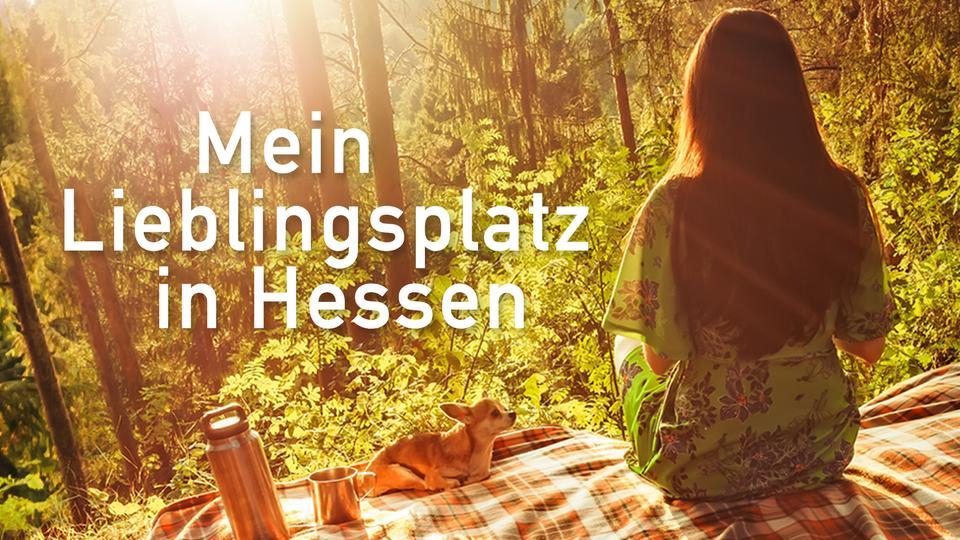 Eine Frau sitzt auf einer Decke im Wald.