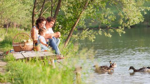 Familie beim Picknick.
