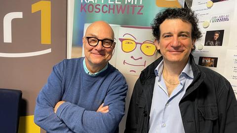 hr1-Morgenmoderator Thomas Koschwitz (li.) und Chefdirigent Alain Altinoglu