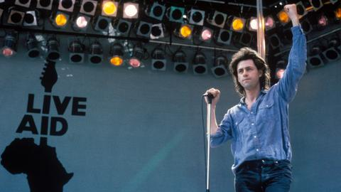 LiveAid: Bob Geldof auf der Bühne