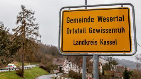 Ortsschild Gewissenruh, Hessen