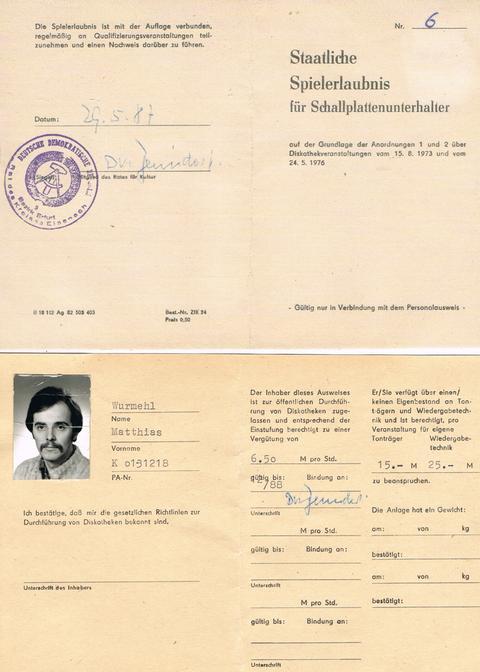 Staatliche Spielerlaubnis DDR