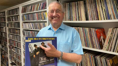 Werner Reinke mit Blues-Brothers-Platte