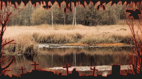 Das Rote Moor mit Halloween-Umrahmung