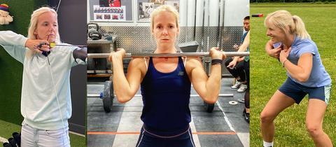 hr1-Moderatorin Simone Reuthal beim Bogenschießen, Gewichtheben und Rugby.