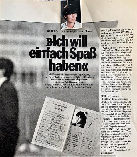 Zeitungsauschnitt mit einem Passfoto von Stephanie von Monaco und Ulla Atzert